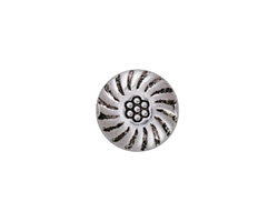 Antique Silver Finish Spinning Daisy Puff Coin 13mm