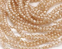 Champagne Cubic Zirconia Faceted Round 2mm
