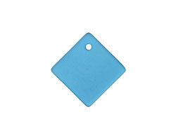 Peacock Blue Recycled Glass Curved Diamond Square Pendant 18mm