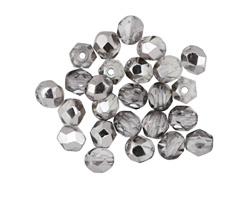 Czech Fire Polished Glass Black Diamond w/ Silver Luster Round 5mm