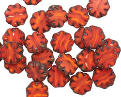 Czech Glass Rustic Red Picasso Pressed Daisy 9mm