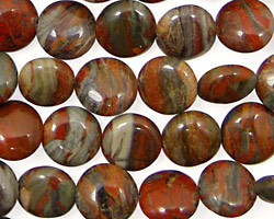 Gray Rainbow Jasper Puff Coin 10mm