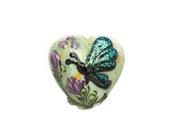 Grace Lampwork Green Sparkle Garden Butterfly Heart 19-20mm