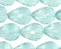 Aquamarine (syn) Faceted Teardrop 20x15mm