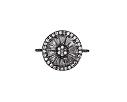 Vintage Style Clear Pave CZ Gunmetal (plated) Coin Focal Link 20x15mm