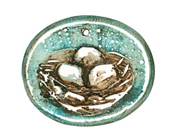 Humble Beads Polymer Clay Teal Sweet Nest Pendant 31x25mm
