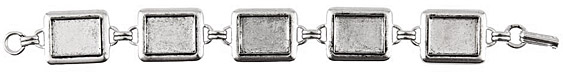 Nunn Design Antique Silver (plated) Large Rectangle Bezel Bracelet 16x12mm