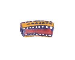 African Handpainted in Red/Saffron/White on Cobalt Powder Glass (Krobo) Bead 22-26x10-11mm
