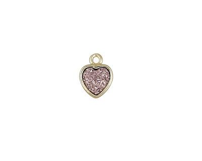 Metallic Bronze Crystal Druzy Heart Charm in Gold Finish Bezel 8x10mm