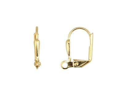 Gold (plated) Leverback Petal Earring w/ Open Loop 11x14mm