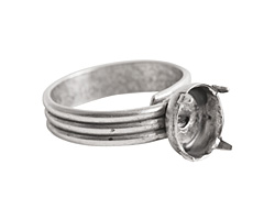 Nunn Design Antique Silver (plated) Small Oval Prong Setting Adjustable Ring 8x10mm