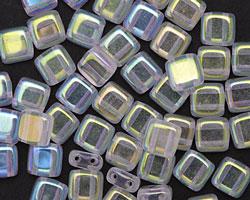CzechMates Glass Crystal Double Sided AB 2-Hole Tile 6mm