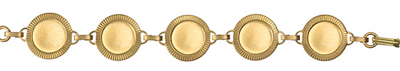 Brass Game Piece Bezel Link Bracelet 22mm