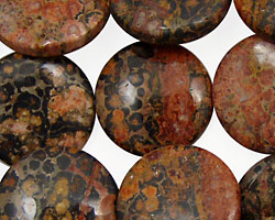 Leopardskin Jasper Puff Coin 20mm