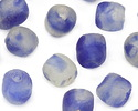 African Recycled Glass Blue Sky Tumbled Round 8-10mm