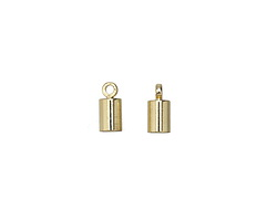 Gold (plated) Cylindrical End Cap w/ Loop 4mm