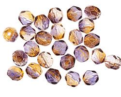 Czech Fire Polished Glass Dual Coated Cantaloupe/Grape Round 6mm
