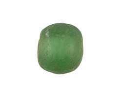 African Recycled Glass Bottle Green Tumbled Rondelle 14-20x20-23mm