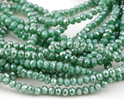 Green Turquoise AB Crystal Faceted Rondelle 3mm
