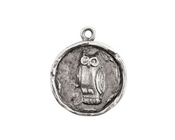 Nunn Design Antique Silver (plated) Small Round Owl Charm 21x24mm
