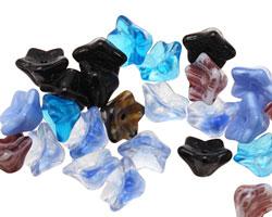 Czech Glass Black & Blue 5 Point Bellflower 6x9mm