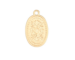 Satin Gold Finish Etched Floral Crest Oval Charm 16x25mm