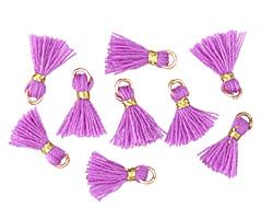 Violet w/ Gold Binding & Jump Ring Tiny Thread Tassel 12mm