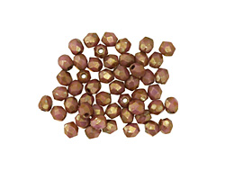 Czech Fire Polished Glass Luster Opaque Rose/Gold Topaz Round 3mm