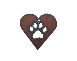 The Lipstick Ranch Rusted Iron Paw Heart 42x42mm