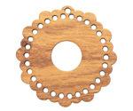 Walnut Wood Scalloped Edge Round Stitchable Focal 38mm