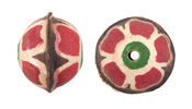 Hand Painted Violet Primrose Leather Round Bead 20-22mm