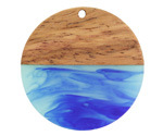 Walnut Wood & Nautical Swirl Resin Coin Focal 38mm