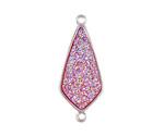 Metallic Hot Pink Crystal Druzy Teardrop Link in Silver Finish Bezel 33x14mm