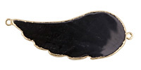 Black Agate Wing Focal Link w/ Gold Plating 43-55x18-22mm