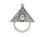 Zola Elements Antique Silver (plated) Decorative Triangle Bezel Charm Holder Focal 34x30mm