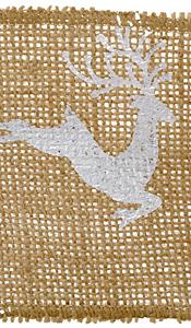 "Metallic Silver Leaping Reindeer 4"" Burlap Wired Ribbon"
