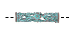 Greek Copper (plated) Patina Openwork Floral Tube 30x7mm