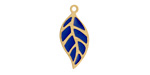 Classic Blue Enamel Gold (plated) Stainless Steel Falling Leaf Focal 10x22mm