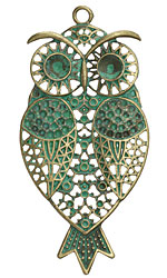 Zola Elements Patina Green Brass Ornate Owl Pendant 40x85mm