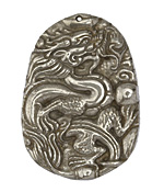 Golden Pyrite Carved Dragon Pendant 38x51mm
