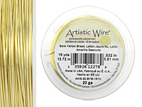 Artistic Wire Bare Yellow Brass 20 gauge, 15 yards