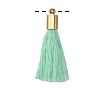 Sweet Mint Thread Tassel w/ Gold (plated) Tassel Cap 30mm
