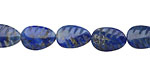 Denim Lapis Carved Leaf 8x12mm