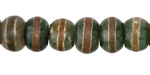 Tibetan (Dzi) Agate Dark Green & Brown Banded Rondelle 7-8x10-12mm