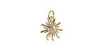 Clear CZ Gold (plated) Stainless Steel Sunburst Charm 11x15mm