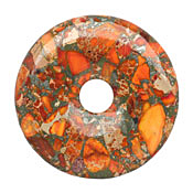 Orange Impression Jasper & Pyrite Mosaic Donut 50mm