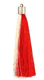 Red & Cream Thread Tassel w/ Metallic Gold Plastic Tassel Cap 101mm