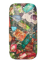 Mardi Gras (Mixed Impression) Jasper Rectangle Pendant 30x60mm