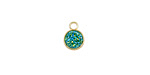Metallic Green Turquoise Crystal Druzy Coin Charm in Gold Finish Bezel 7x9mm