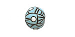 Golem Studio Turquoise Abstract Carved Ceramic Round Bead 12mm